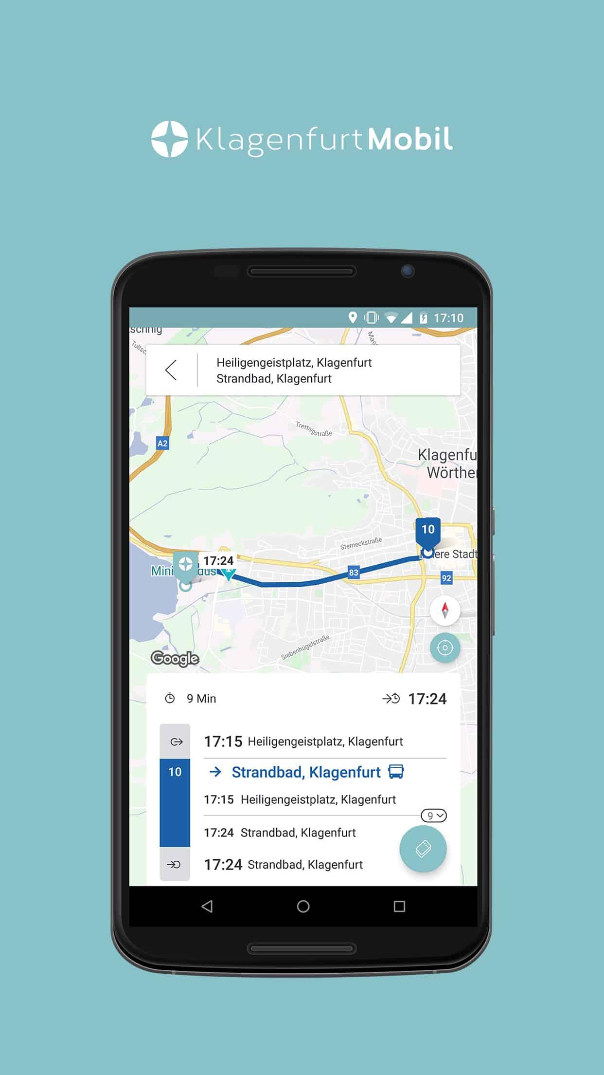 Klagenfurt Mobil App Routenvorschau